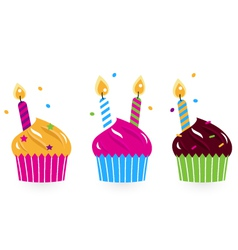 Birthday cakes collection isolated on white vector image vector image