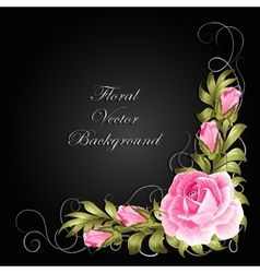 Corner composition with roses and leaves vector image