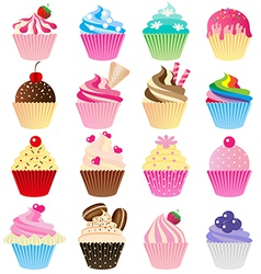 Cup cake set vector image vector image