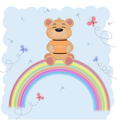 cute happy bear vector image
