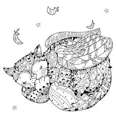 Hand drawn doodle outline cat sleeping vector