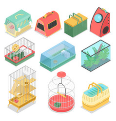 isometric pet carriers with aquarium vector image