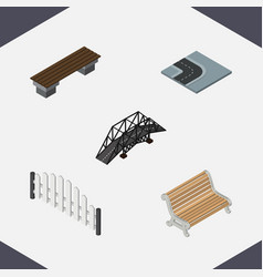 isometric urban set of barricade seat bench and vector image vector image