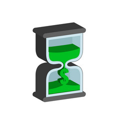 sandclock time is money concept symbol flat vector image vector image