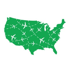 USA map with airplane routes vector image vector image