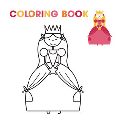coloring book for little girls - the princess vector image