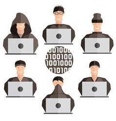 flat design set of different hackers vector image