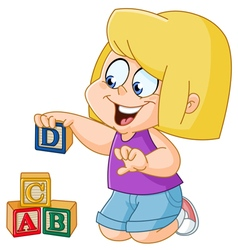 girl with alphabet blocks vector image vector image