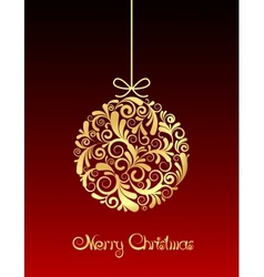 Gold Christmas ball on red background vector image vector image
