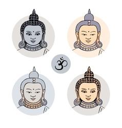 Hand drawn face of Buddha vector image