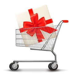 shopping cart and gift box vector image vector image