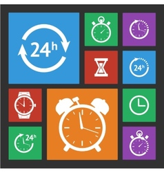 White clock icons set vector image