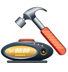 alarm clock and hammer vector image vector image