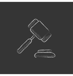 Auction gavel Drawn in chalk icon vector image vector image