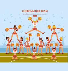 cheerleader team stadium flat poster vector image vector image