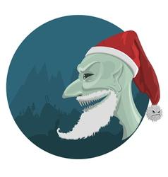 Evil Santa Claus in red hat vector image