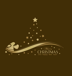 golden stars christmas tree with angel vector image