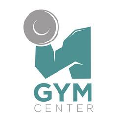 gym center promotion banner big mans arm holds a vector image
