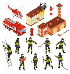 Isometric Fire Department Icon Set vector image vector image