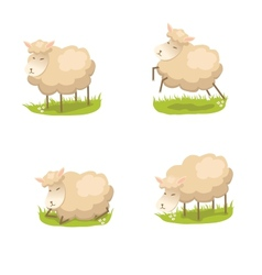 Set of cute lambs vector image