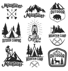 set of mountain camp emblems outdoor vector image