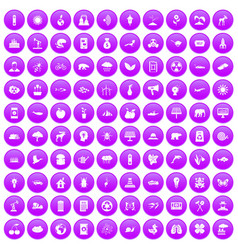 100 eco care icons set purple vector