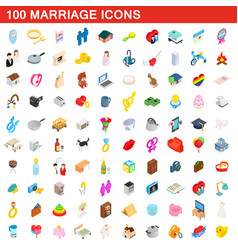 100 marriage icons set isometric 3d style vector image