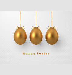 3d metallic golden eggs hanging foil bow vector