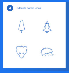 4 forest icons vector