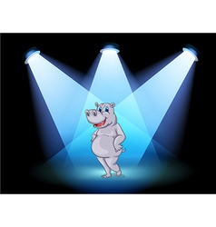 A stage with a hippopotamus standing in the middle vector image