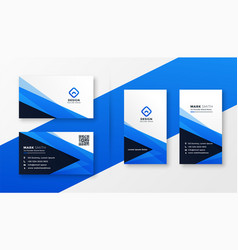 Abstract blue business card design vector