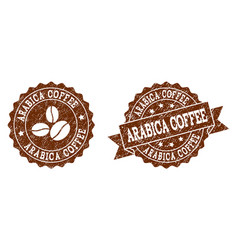 arabica coffee stamp seals with grunge texture in vector image