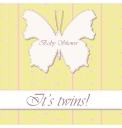 baby shower twins vintage with butterfly banner vector image