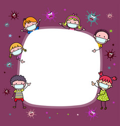 Background with children wearing protective masks vector