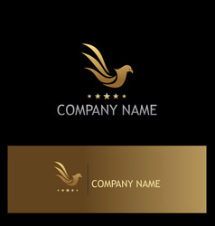 Bird pigeon fly star gold logo vector