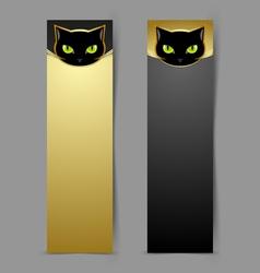 Black cat head banners vector