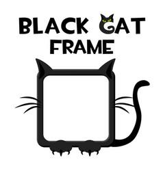 Black square cat frame cartoon halloween avatar vector