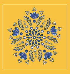Blue and yellow floral folk design ideal for vector