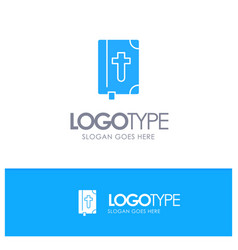 Book bible easter holiday blue solid logo vector