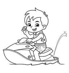 Boy riding jetski on the beach bw vector