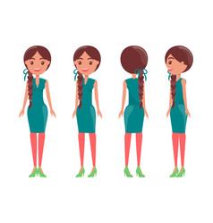 Braided pretty women in elegant stylish dresses vector
