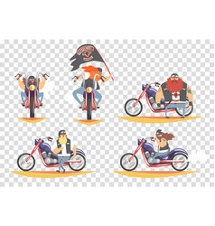 brutal bikers set bearded men riding motorcycles vector image