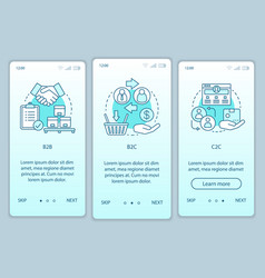 Business models onboarding mobile app page screen vector