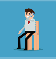 Businessman sitting on a chair and talking on the vector