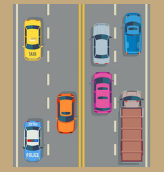 Cars seamless background traffic and road vector
