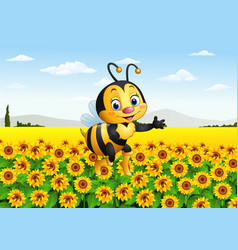 cartoon bee in the sunflower field vector image