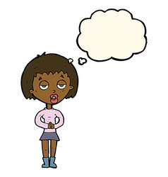 cartoon bored woman waiting with thought bubble vector image