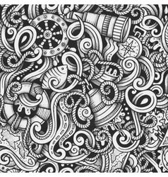 Cartoon hand-drawn doodles Nautical and Marine vector