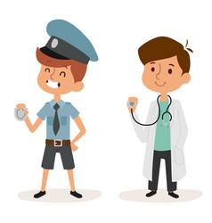 cartoon profession kids children set vector image