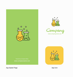 chemical flask company logo app icon and splash vector image